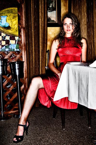 Zhanna in the restaurant, New York, 2010